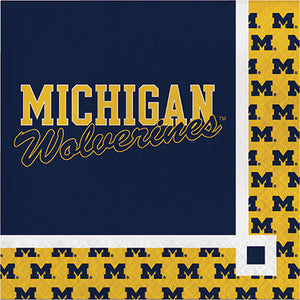Michigan Wolverines Beverage Napkin on Navy Background with Maize border with Michigan M