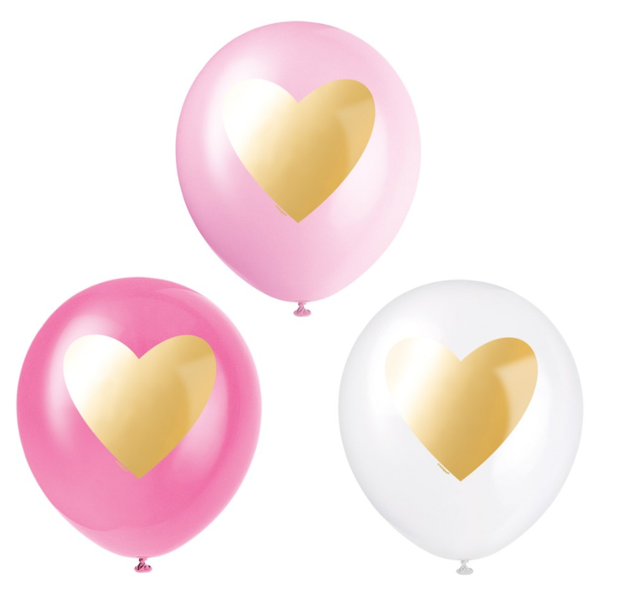 light pink, dark pink, and white solid balloons with gold stamped heart_party supplies_sprinkles&confetti