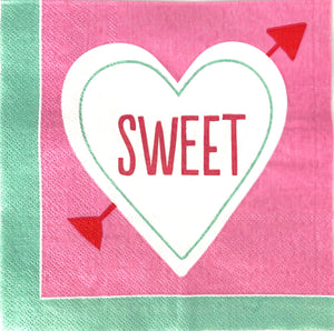Sweet heart with pink and green background valentine's day party napkins