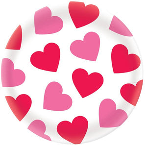 white round platter with valentine's day pink and red solid hearts | Party supplies | Sprinkles & confetti