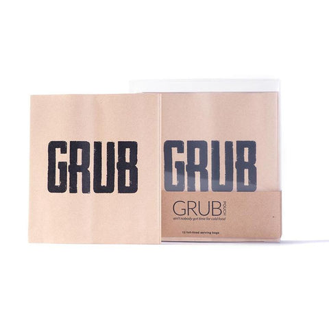 kraft paper foil lined food pouch with GRUB written on front