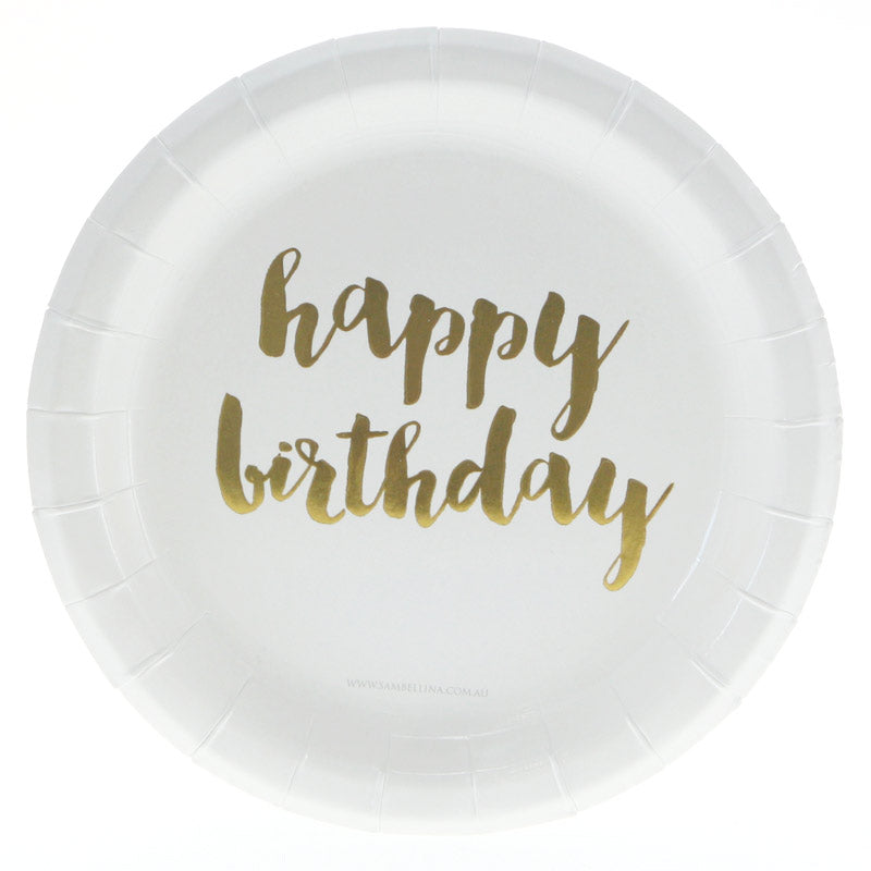 white plate with gold happy birthday font