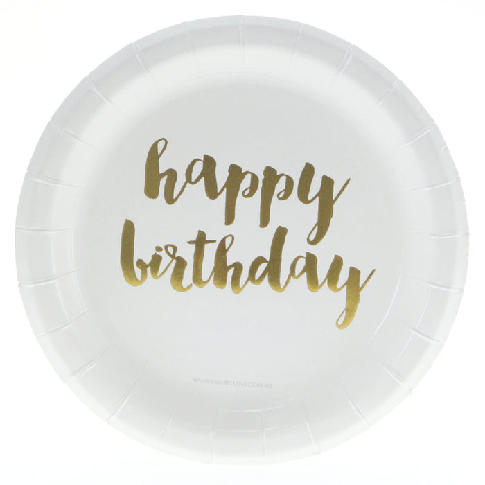 White & Gold Happy Birthday Plate