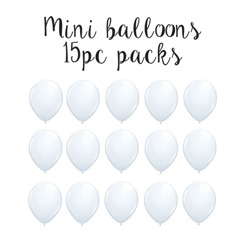 "15 pc pack of 5"" mini solid white latex balloons - balloon arch balloons - party decor"