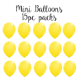 "5"" Mini Balloon 15pc Pack Yellow"
