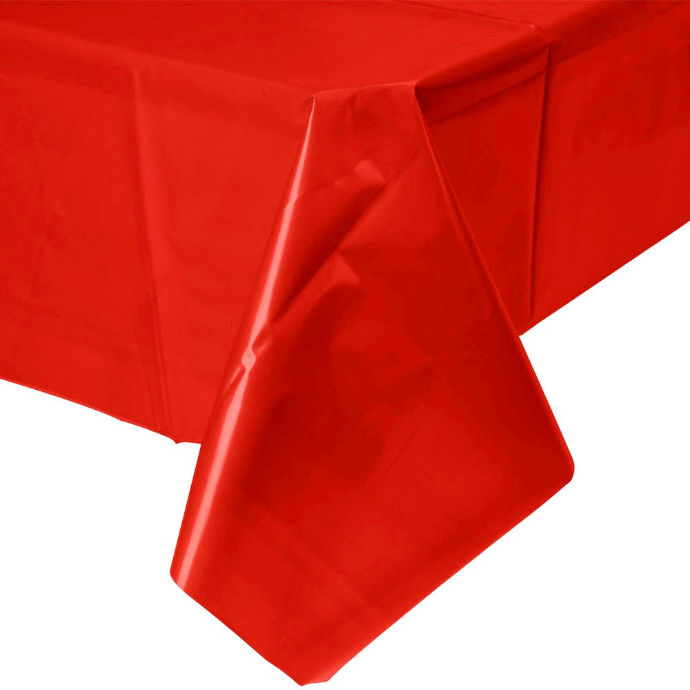Solid red plastic disposable tablecloth