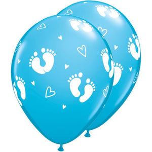solid baby blue balloon features small white footprints and is great for a baby shower or gender reveal party