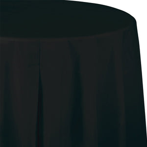 black plastic round table cloth, party decor