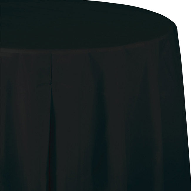 Solid Black Disposable Round Tablecloth