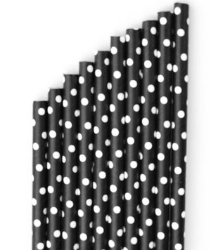 black paper party straw with white polka dots