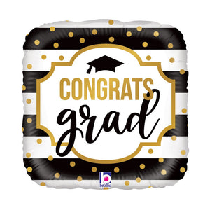 "18"" Black & White Stripe Graduation Balloon"