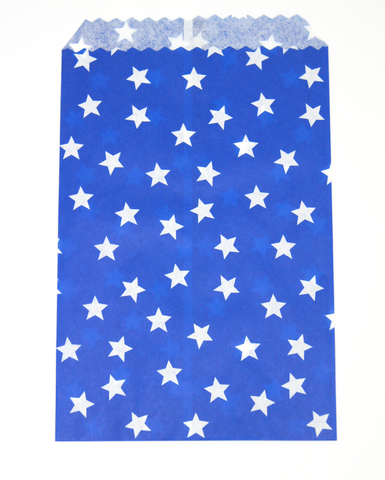 blue paper favor bag with white star all over print pattern perfect for snacks or treats
