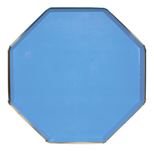 Bright blue, gold dinner plate , lager