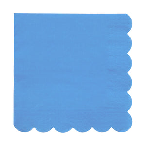 Blue, scalloped edge napkin
