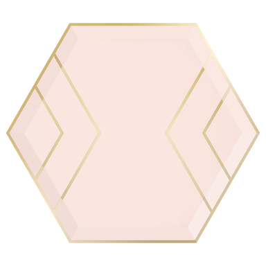 Blush Hexagon plate features a gold outline & gold foil accent stripes