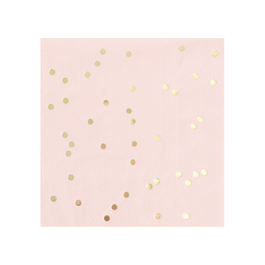 blush pink beverage cocktail napkin with gold confetti foil