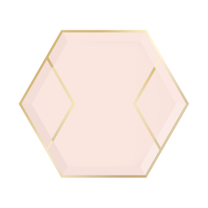 Blush pink dessert plate hexagon shape with pink base and gold foil accents