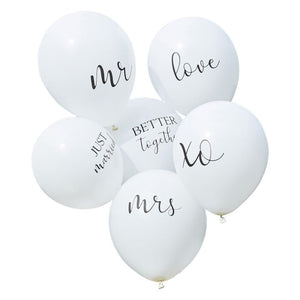 White elegant wedding or bridal shower balloons
