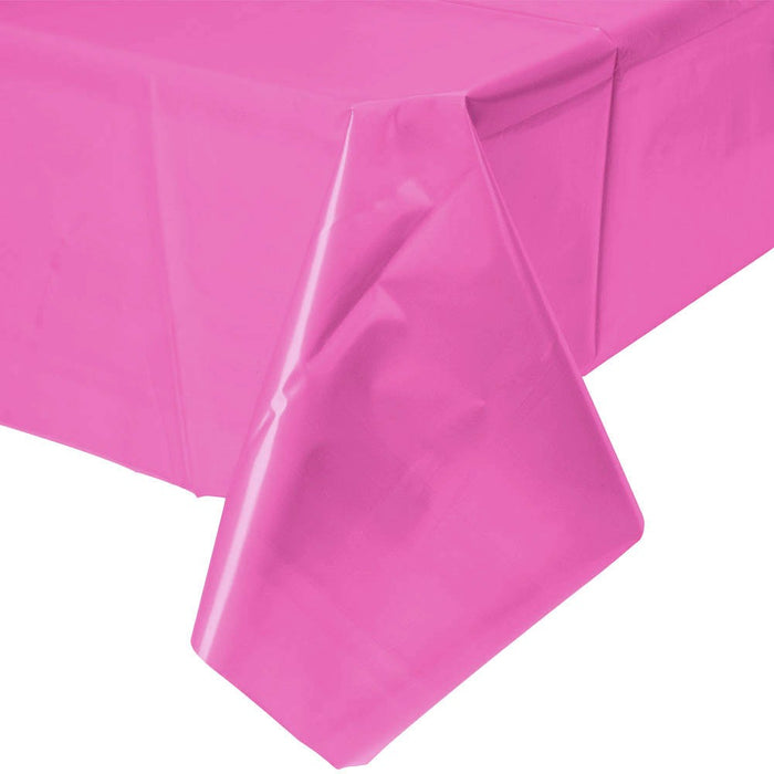 Solid Bright Pink Plastic Tablecloth