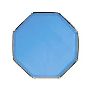 Bright blue, gold dinner plate