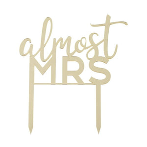 gold almost mrs. acrylic bridal shower cake topper