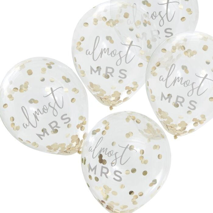 Almost Mrs. Gold Confetti Balloon Bundle