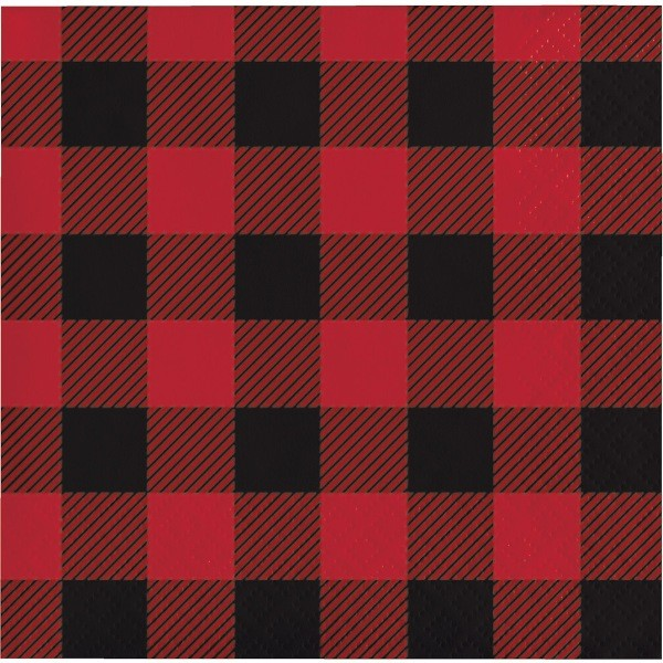 red and black buffalo plain cocktail napkin, party style