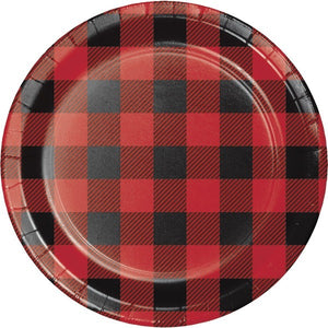 red & black buffalo plaid dessert plate