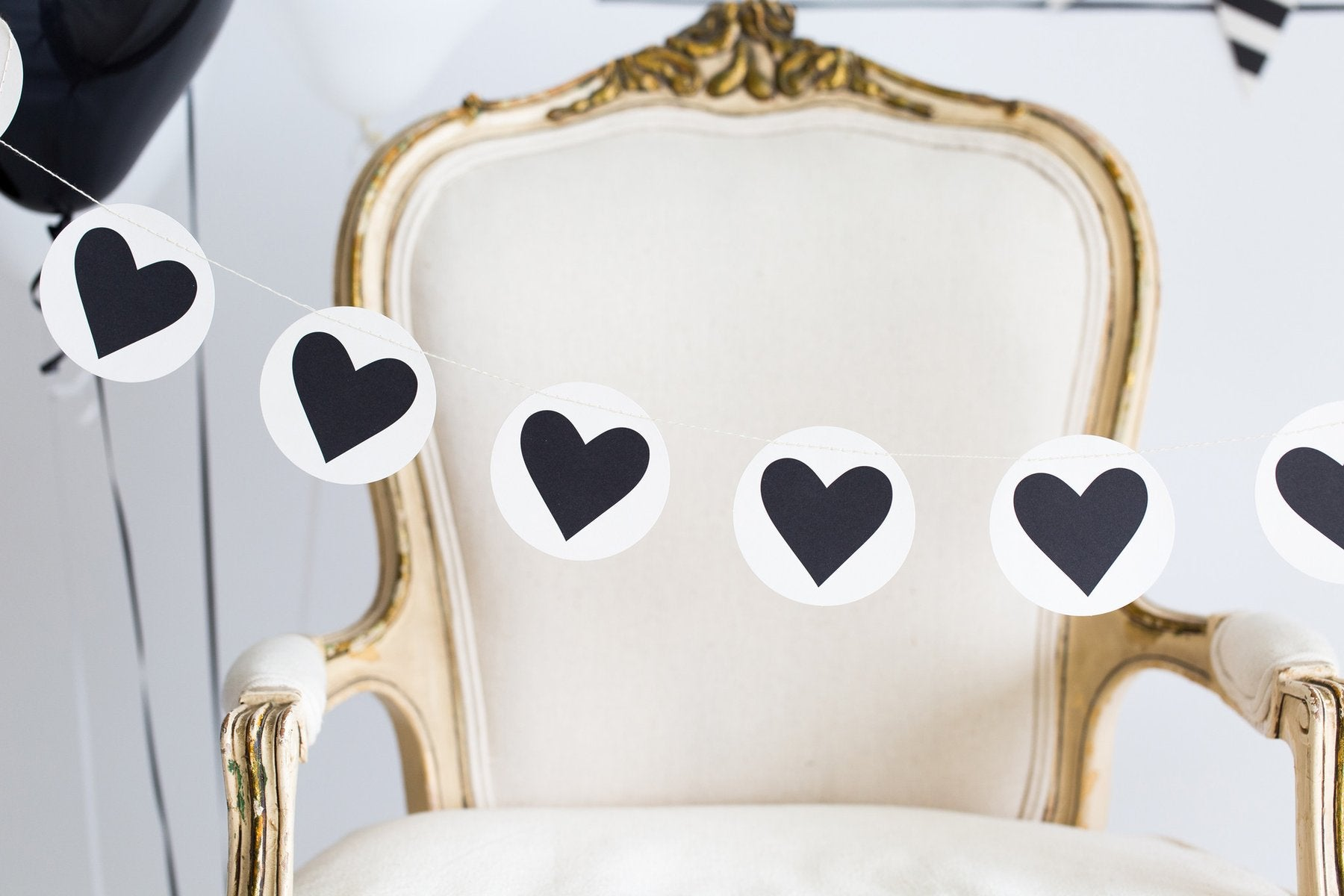 Black and White Heart Garland