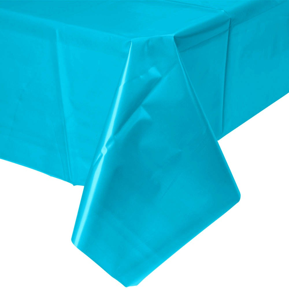 Solid Caribbean Blue Plastic Tablecloth