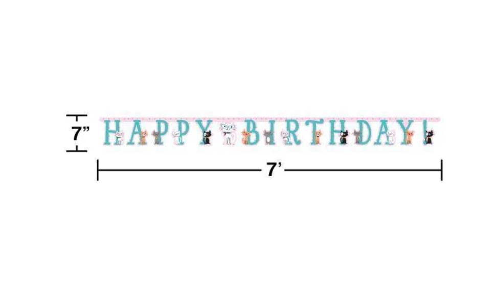 Cat Happy Birthday Banner