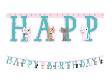 cat style birthday banner, party, cat lover, cute