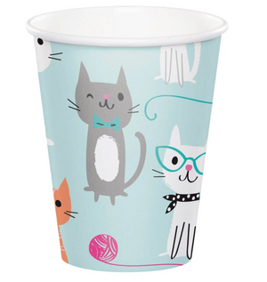 colorful cat beverage cups, party