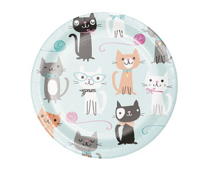 cat lover birthday party dessert plates feature multiple cute cats on aqua background
