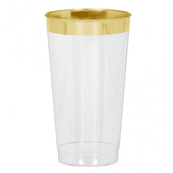 tall clear glass tumbler with metallic gold trim
