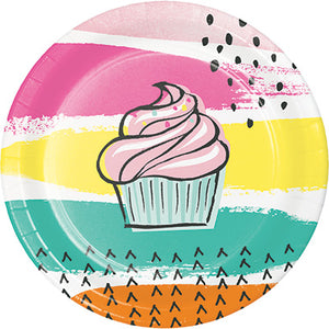 Cupcake dessert plate, colorful party