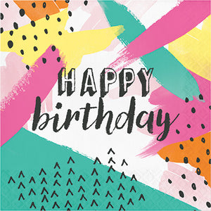 happy birthday printed paper napkins, colorful, party