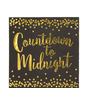 gold countdown to midnight new year's even napkin