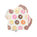 sprinkled colorful donuts on a light pale blue background great for donut party