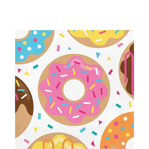 multi color sprinkle donut napkin features colored donuts on a white background