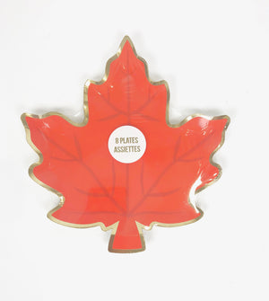 Vibrant orange plate in shape of a leaf perfect for fall gatherings or Thanksgiving dinner