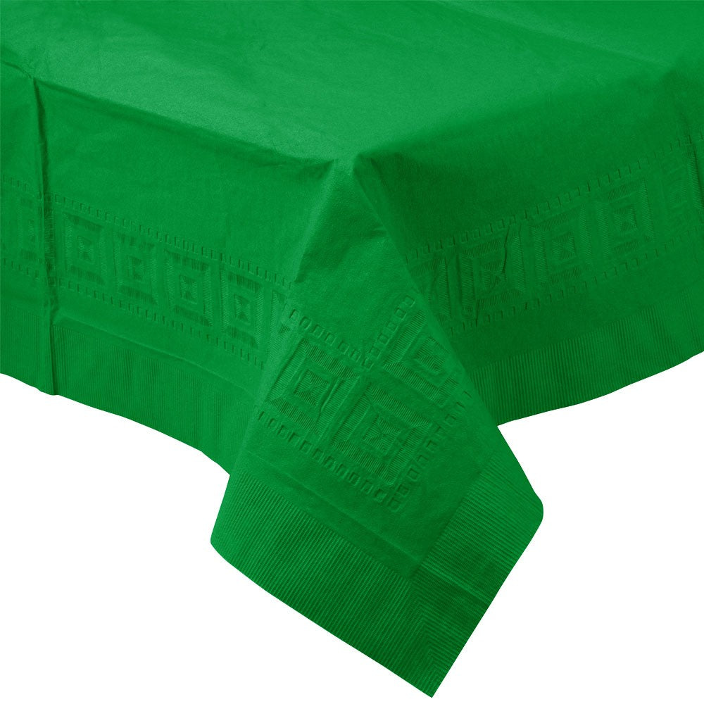 Green PAPER PLASTIC LINED TABLECLOTH great for birthdays, St. Patrick's Day, graduations, and other parties with easy cleanup