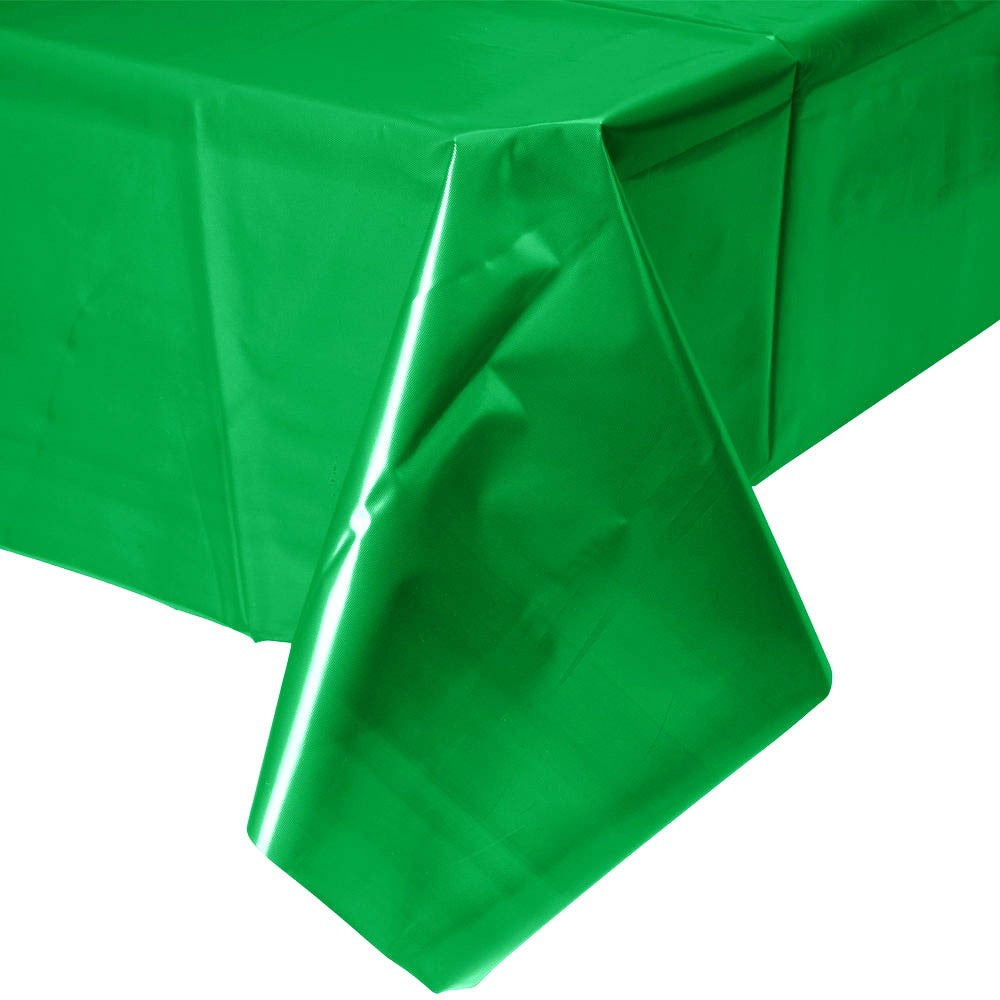 Green party plastic disposable tablecloth