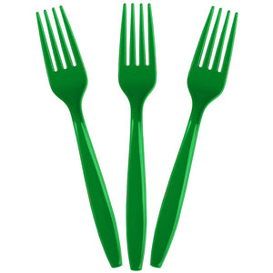 Green party plastic disposable fork