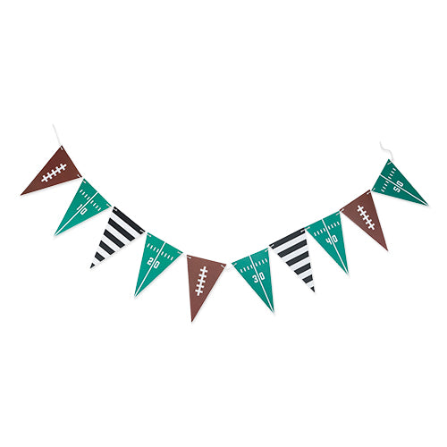 green and brown football themed party banner