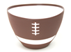 brown football shaped serving bowl with white line mark details and white inner