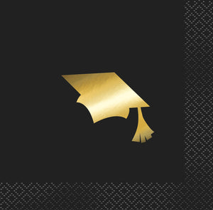 Gold Graduation Beverage Napkin