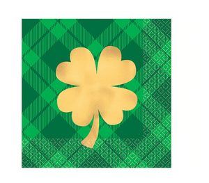 St. Patrick's Day Gold Shamrock Beverage Napkin