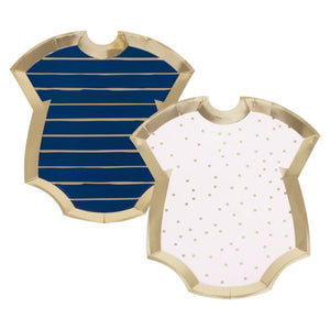 navy and pink, baby onesie shaped plates, cute and small stuff