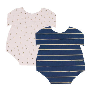 Baby onesie shaped napkins, navy and pink, cute small stuff